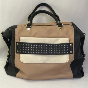 Steve Madden Black Brown Hand Bag w/Gold Accents